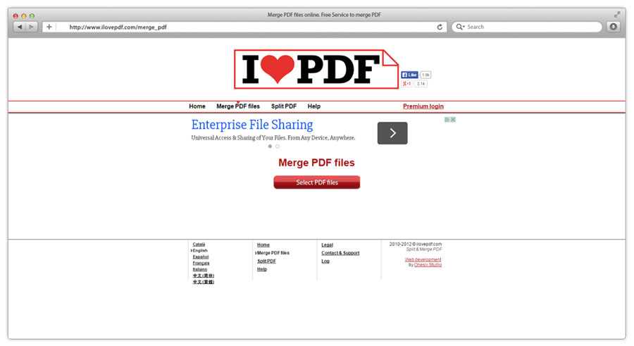Connecting multiple PDF files with Ilove PDF